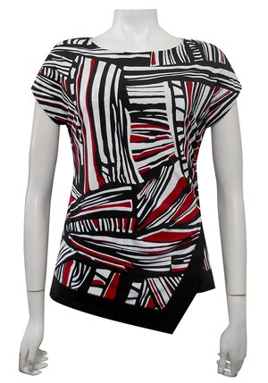 PRINT 413 - Hayley side ruched cap sleeve top