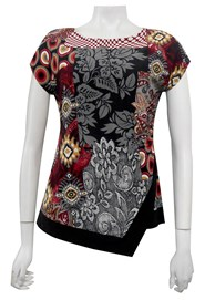LIMITED STOCK - PRINT 495 - Hayley side ruched cap sleeve soft knit top