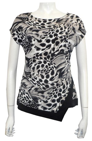 PRINT 548 - Hayley side ruched cap sleeve soft knit top