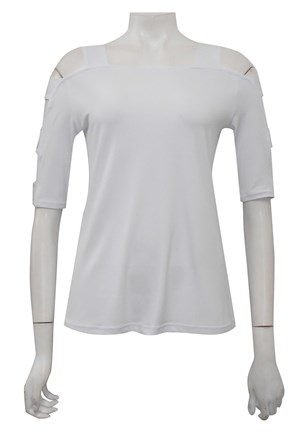 WHITE - Belinda top with sleeve cut outs