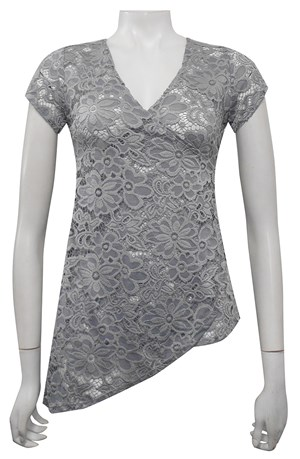SILVER - Anna lace faux wrap top