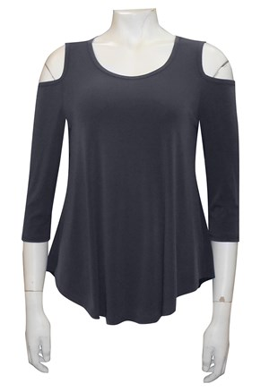 CHARCOAL - Maria plain swing top with curved hem