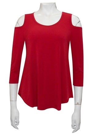 SEX RED - Maria plain swing top with curved hem