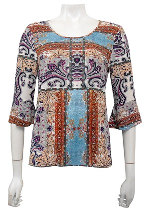 Danny print top with frill sleeves (Georgette fabric)