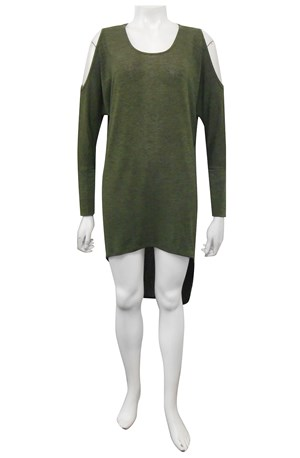 KHAKI - Shelly tunic top with exposed shoulders