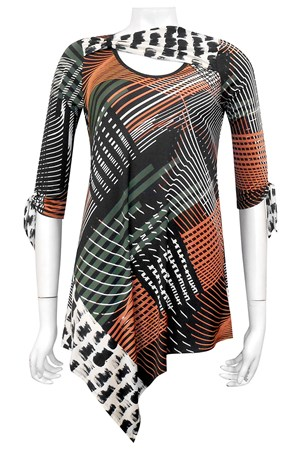 PRINT 480 - Yolanda tunic top with ruching detail (soft knit fabric)