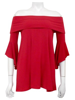 LIMITED STOCK - SEX RED - Shirley swing top with shoulder band
