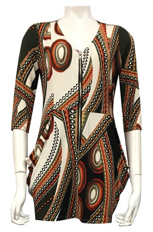 LIMITED STOCK - PRINT 483 - Jade zip front tunic with cowl pockets