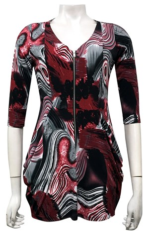 LIMITED STOCK - PRINT 479 - Jade zip front tunic with cowl pockets