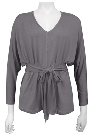 Laura batwing silky knit top with belt