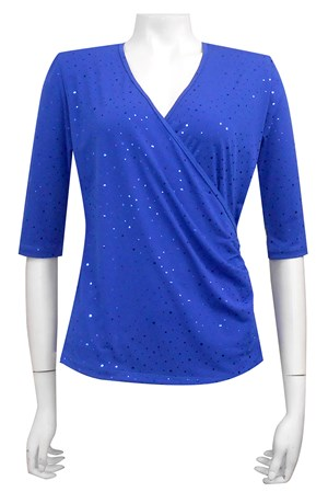 ROYAL - Sparkle cross front soft knit top