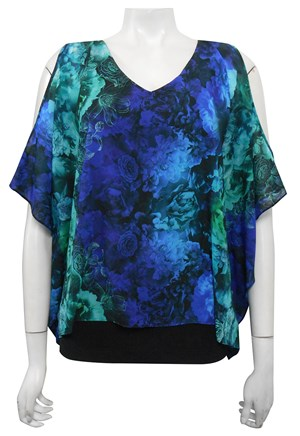 CHIFFON PRINT 128 - Rebecca cut out overlay top
