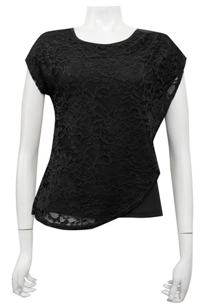 BLACK - Willow lace double layer top