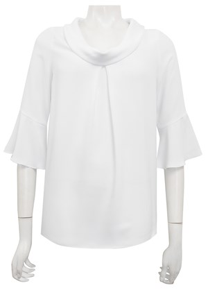WHITE - Lesley pleat cowl top