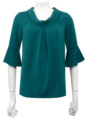 POSY GREEN - Lesley pleat cowl top