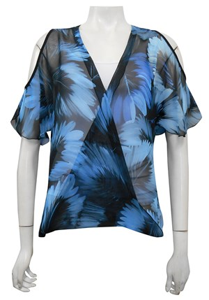 Sally cut out shoulder printed chiffon top