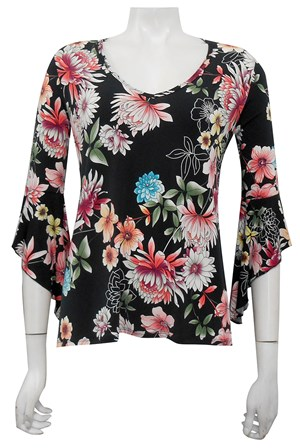 Gail printed soft knit top with frill sleeves