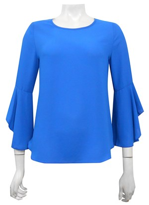 BLUE - Pam frill sleeve top