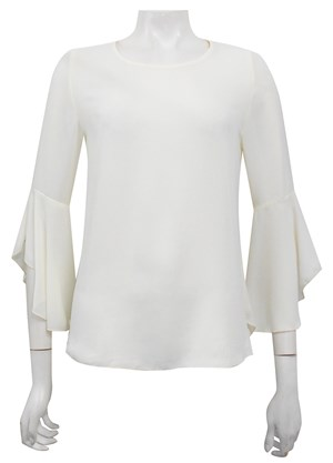 CREAM - Pam frill sleeve top