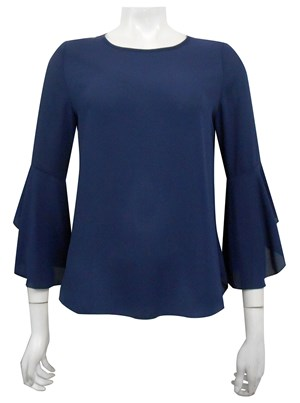 NAVY - Pam frill sleeve top