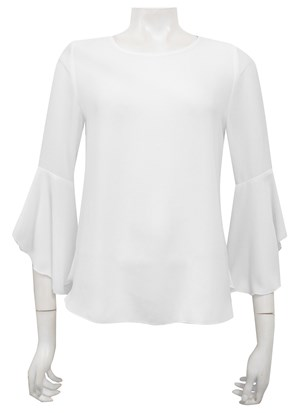 WHITE - Pam frill sleeve top