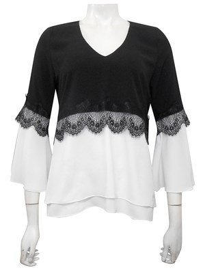 Elle 2 tone lace detail top