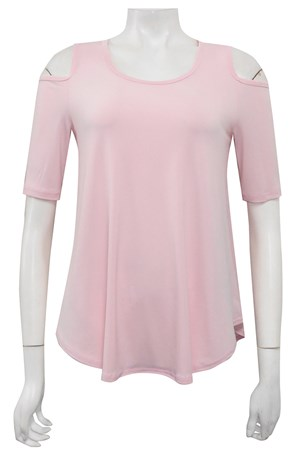 BABY PINK - Betty cut out shoulder soft knit top