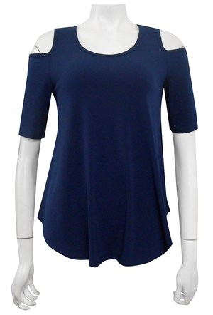 NAVY - Betty cut out shoulder soft knit top
