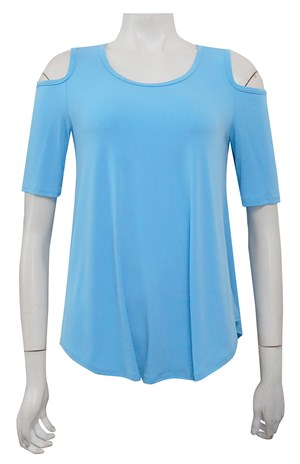 TURQUOISE - Betty cut out shoulder soft knit top