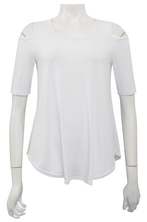 WHITE - Betty cut out shoulder soft knit top