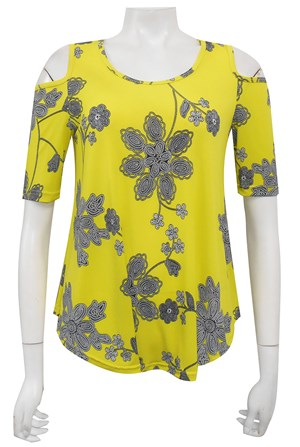 LIMITED STOCK - PRINT 524 - Betty printed cut out shoulder soft knit top