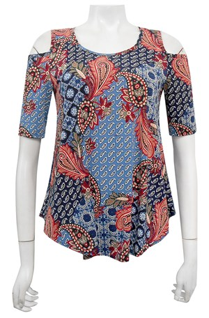 LIMITED STOCK - PRINT 537 - Betty printed cut out shoulder soft knit top