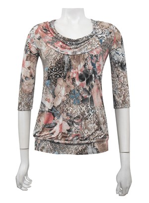 PRINT 169 - 3/4 sleeve cowl neck top with gathered front
