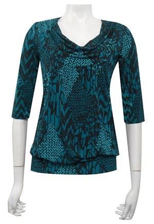 PRINT 311 - 3/4 sleeve cowl neck top with gathered front