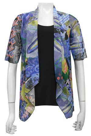 MESH PRINT 59 - Emily mesh all in one waterfall shrug with contrast soft knit under singlet