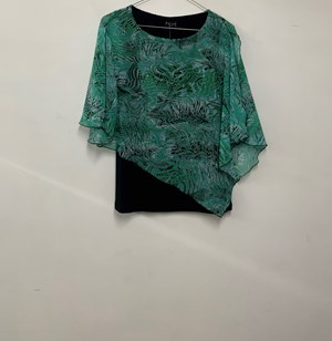 Printed Chiffon Overlay Top GREEN