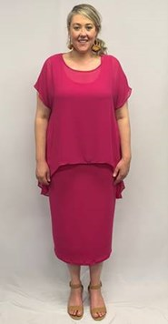 Chiffon Overlay Top HOT PINK