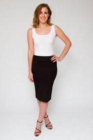 Ponti knee length skirt WORN BACK WITH PRINTED PONTI TOP