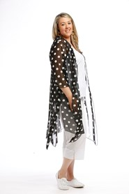 Printed Mesh Jacket with tie, can be worn open or closed