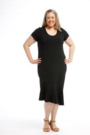 Soft Knit Angle Hem Dress BLACK