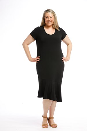 Soft Knit Angle Hem Dress BLACK