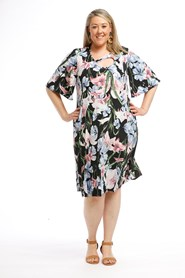 Printed Soft Knit Dress with keyhole detail and Pockets FLORAL