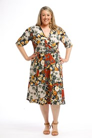 Printed Wrap Dress RUST MUSTARD FLOWER
