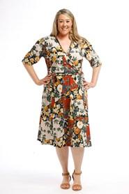 Printed Wrap Dress RUST MUSTARD FLOWER