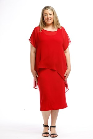 Chiffon Overlay Top RED