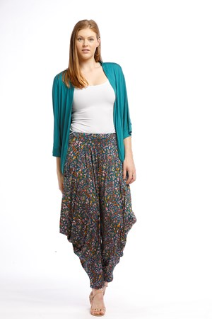 Rhianna Harem Soft Knit Pant TEAL FLOWER
