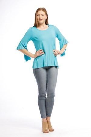 Amelia Silky Knit Frill Sleeve Top - Blue