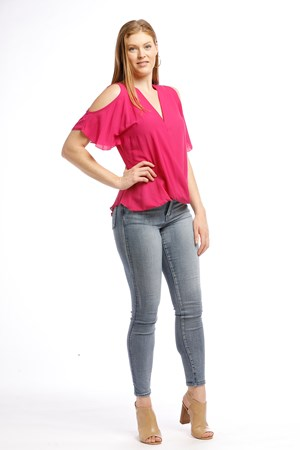 Robyn cross front blouse HOT PINK