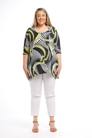 Printed Soft Knit Top YELLOW NAVY