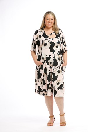 Printed Soft Knit Dress with keyhole detail and Pockets PINK FLORAL